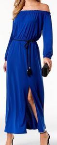 Nine West Blue 3/4 Sleeve Off Shoulder Belted Maxi